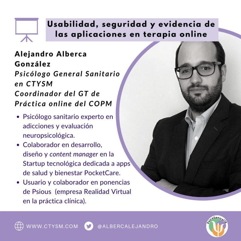 1. Alejandro Alberca - Usabilidad, seguridad y evidencia de las aplicaciones en la terapia online